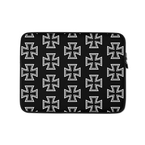 Maltese Cross Pattern Laptop Sleeve Black 13 in