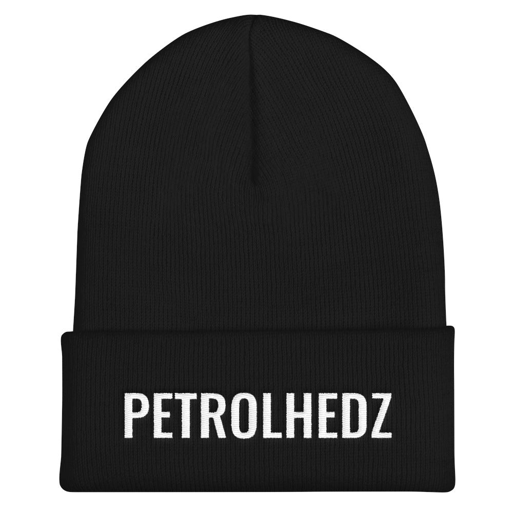 Petrolheadz Text White, Unisex Cuffed Beanie
