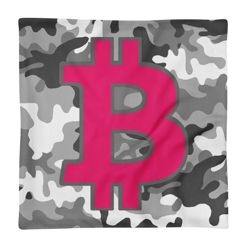 Bitcoin BTC Symbol Hot Pink, Premium Pillow Case Camouflage