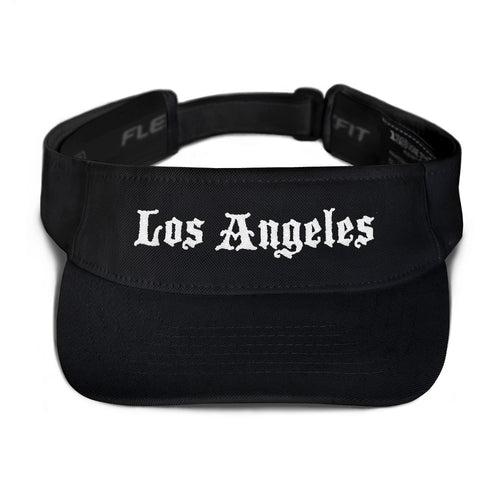 Los Angeles Text White, Embroidered Visor