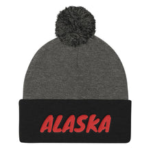 Load image into Gallery viewer, Alaska Text Red, Pom Pom Knit Cap