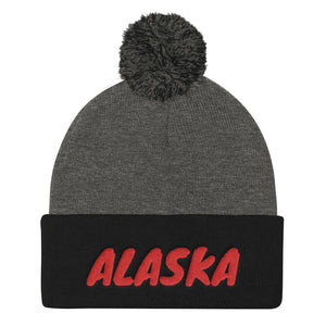 Alaska Text Red, Pom Pom Knit Cap