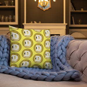 Dogecoin Cryptocurrency Logo, Premium Throw Pillow