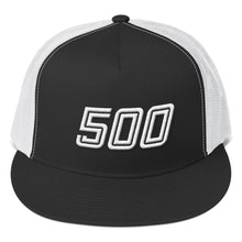 Load image into Gallery viewer, Number 500 White 3D Puff, Classic Trucker Cap