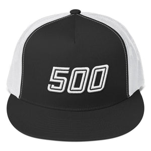 Number 500 White 3D Puff, Classic Trucker Cap