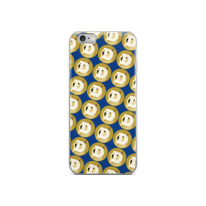Dogecoin Cryptocurrency Logo Pattern, iPhone Case Dark Blue