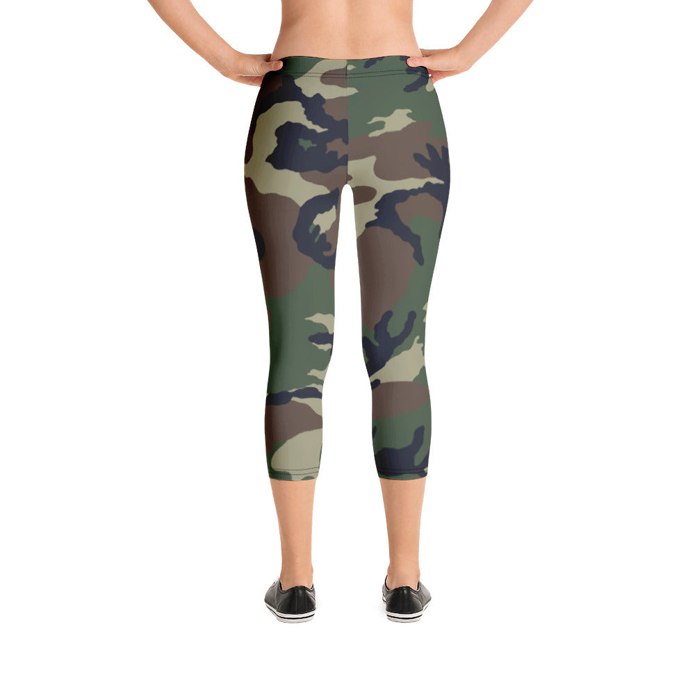Camouflage Pattern Print, Women's Capri Leggings