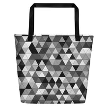Load image into Gallery viewer, Grayscale Triangle Pattern, Beach Tote Bag