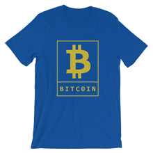 Load image into Gallery viewer, Bitcoin BTC Cryptocurrency Poster Gold, Short-sleeve Unisex T-shirt