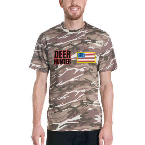 deer hunter camo t-shirt usa flag