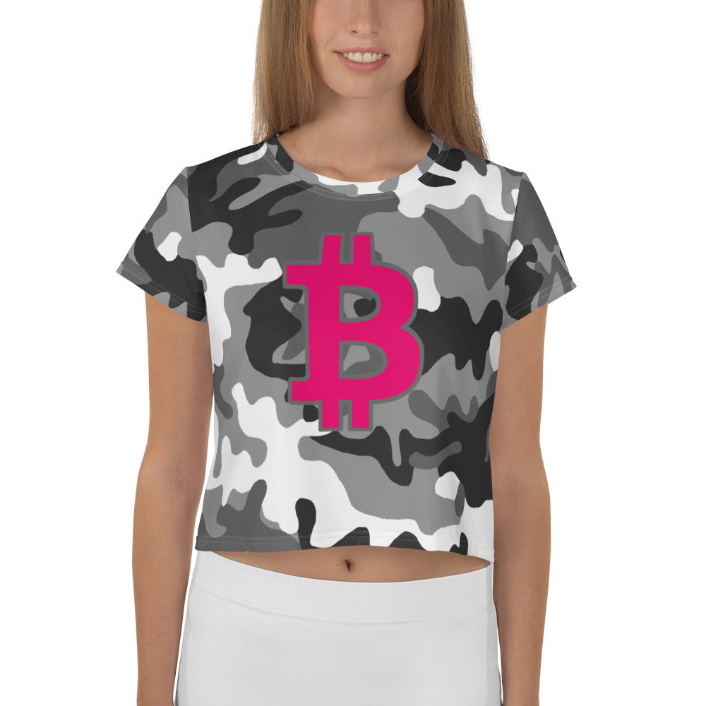 Bitcoin BTC Symbol 09 Hot Pink, Crop Tee Camouflage Front