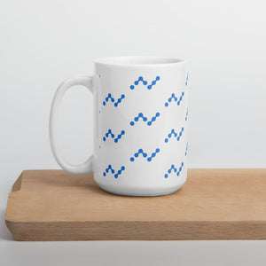 Nano Cryptocurrency Logo Pattern, White Glossy Coffee Mug 15oz