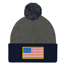 Load image into Gallery viewer, USA Flag Patch Style Printed, Pom Pom Knit Cap