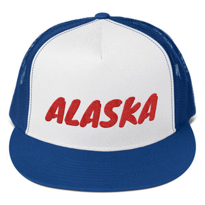 Alaska Text Red, Trucker Cap