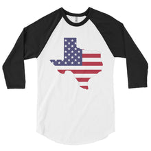 Load image into Gallery viewer, The State of Texas Map With US Flag, 3/4 sleeve raglan shirt