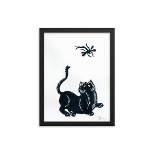 Cat and Dragonfly Paper Cutting, Framed Poster