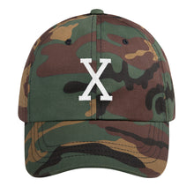 Load image into Gallery viewer, Malcom White Letter X Flat Embroidery, Dad hat
