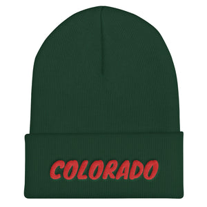 Colorado Text Red, Unisex Cuffed Beanie