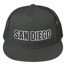 Load image into Gallery viewer, San Diego Text 2 Partial 3D Puff, Trucker Cap