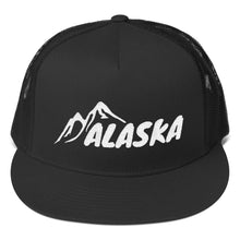 Load image into Gallery viewer, Alaska Text With Mountains, Classic Trucker Cap