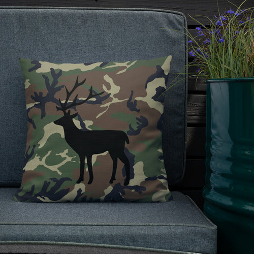 Deer Silhouette Black Camouflage Pattern Print, Premium Pillow