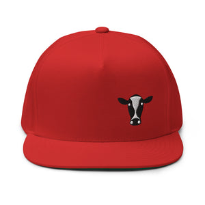 Cow Head Embroidered Flat Bill Cap