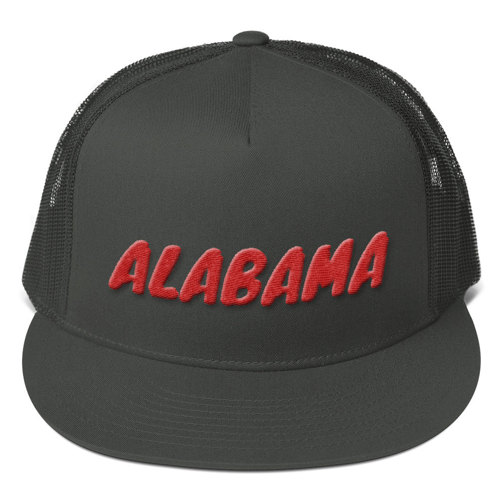 Alabama Text Red 3D Puff, Mesh Back Snapback Hat CHARCOAL GRAY