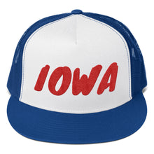 Load image into Gallery viewer, Iowa Text Red, Trucker Cap