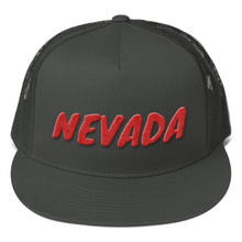 Load image into Gallery viewer, Nevada Text Red 3d Puff, Mesh Back Snapback Hat CHARCOAL GRAY