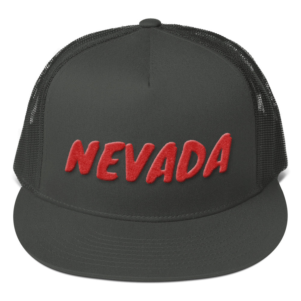 Nevada Text Red 3d Puff, Mesh Back Snapback Hat CHARCOAL GRAY