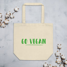 Load image into Gallery viewer, Go Vegan Text Green, Eco Friendly Tote Bag