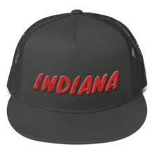Load image into Gallery viewer, Indiana Text Red 3D Puff, Mesh Back Snapback Hat CHARCOAL GRAY