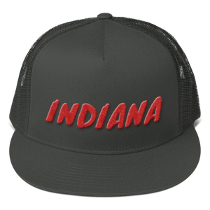 Indiana Text Red 3D Puff, Mesh Back Snapback Hat CHARCOAL GRAY