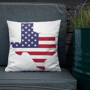 State of Texas Map with US Flag, Premium Pillow