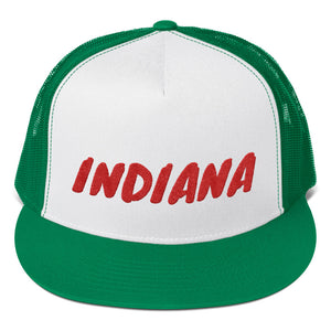 Indiana Text Red, Trucker Cap