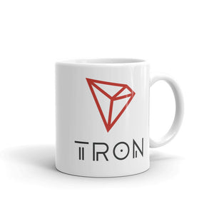 TRON Cryptocurrency Logo, White Glossy Coffee Mug