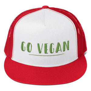 Go Vegan Text Green 3D Puff, Trucker Cap
