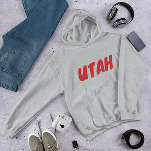 Utah Text Red, Unisex Hooded Sweatshirt