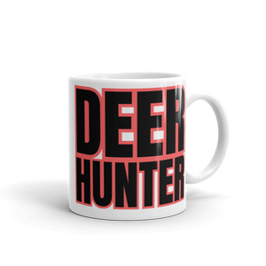 Deer Hunter Text, White Glossy Coffee Mug