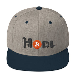 Hodl Text With Bitcoin Logo, Snapback Hat