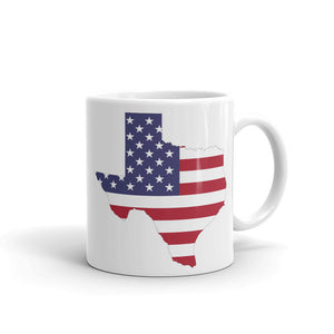 Texas State Map With USA Flag, White Glossy Mug 11oz