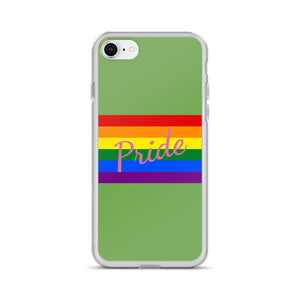 Pride Text Pink and Flag, iPhone Case Light Green