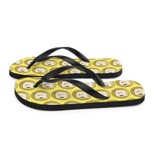 Load image into Gallery viewer, Dogecoin Cryptocurrency Logo Pattern Yellow Style B, Unisex Flip-Flops