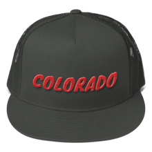 Load image into Gallery viewer, Colorado Text Red 3D Puff, Mesh Back Snapback Hat CHARCOAL GRAY