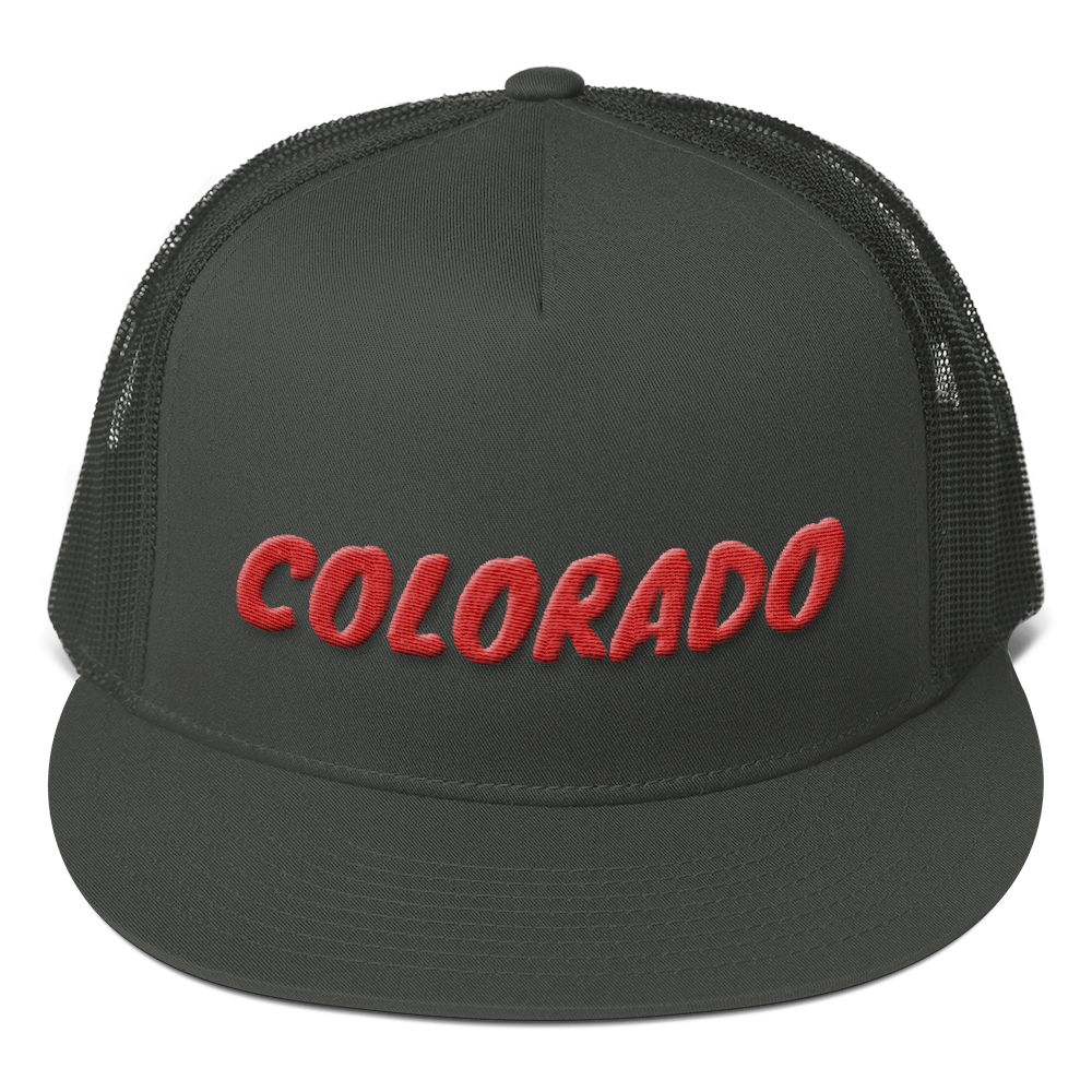 Colorado Text Red 3D Puff, Mesh Back Snapback Hat CHARCOAL GRAY