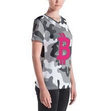 Load image into Gallery viewer, Bitcoin BTC Symbol 09 Hot Pink, Women's V-neck T-shirt Camouflage