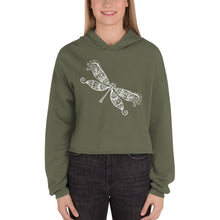 Load image into Gallery viewer, Dragonfly White, Women's Cropped Hoodie