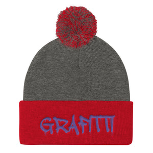Grafitti Text, Pom Pom Knit Cap