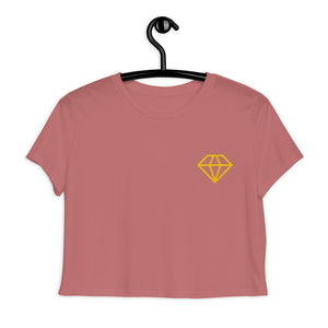 Diamond Shape Logo, Embroidered Crop Tee