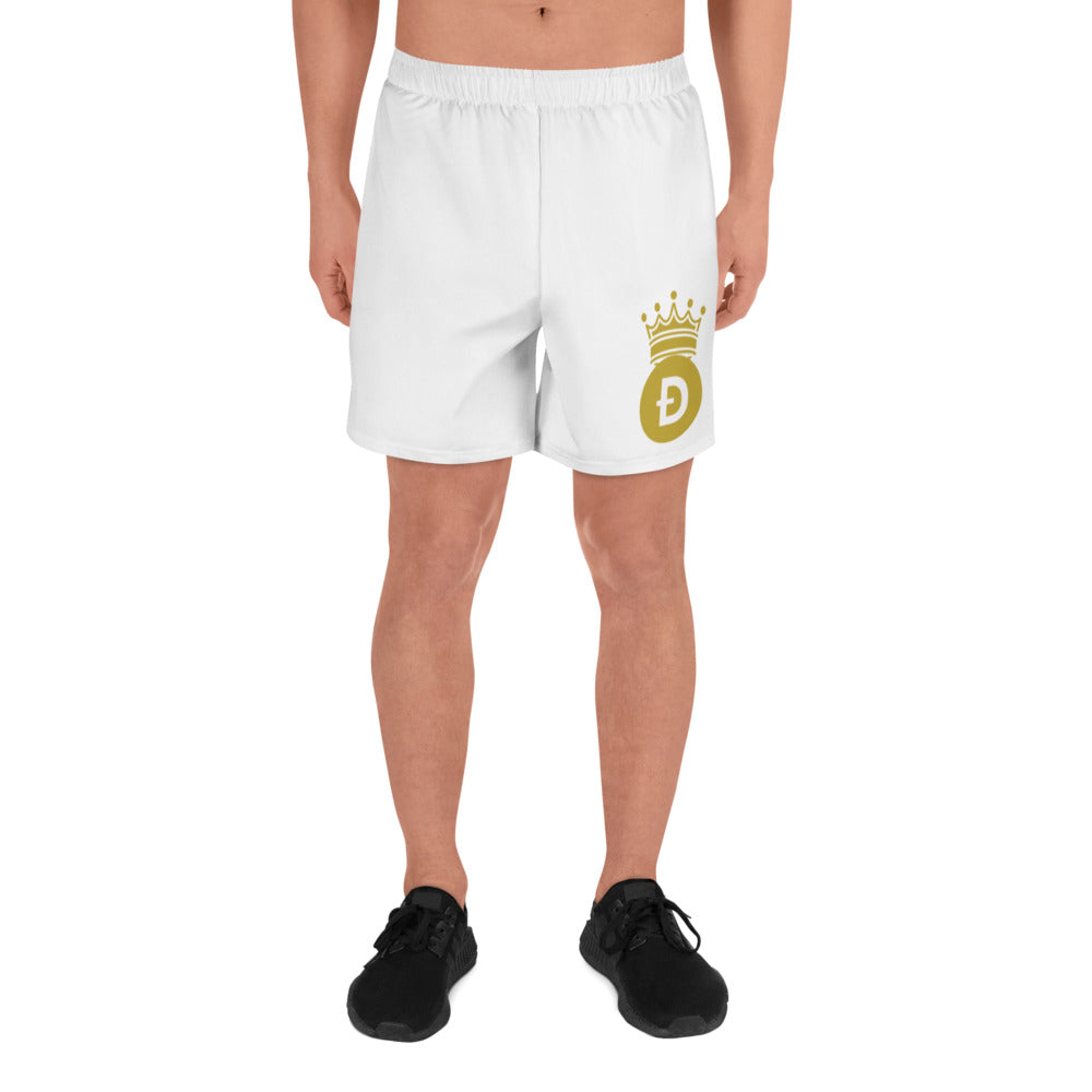 Dogecoin D Cryptocurrency Symbol With Crown, Men's Athletic Long Shorts